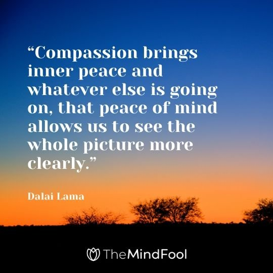 """Compassion brings inner peace and whatever else is going on, that peace of mind allows us to see the whole picture more clearly."" - Dalai Lama"