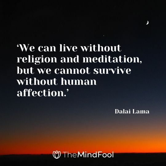'We can live without religion and meditation, but we cannot survive without human affection.' - Dalai Lama