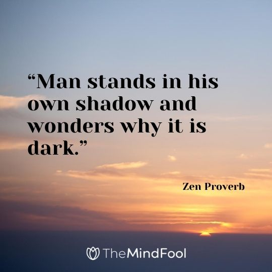 """Man stands in his own shadow and wonders why it is dark."" - Zen Proverb"