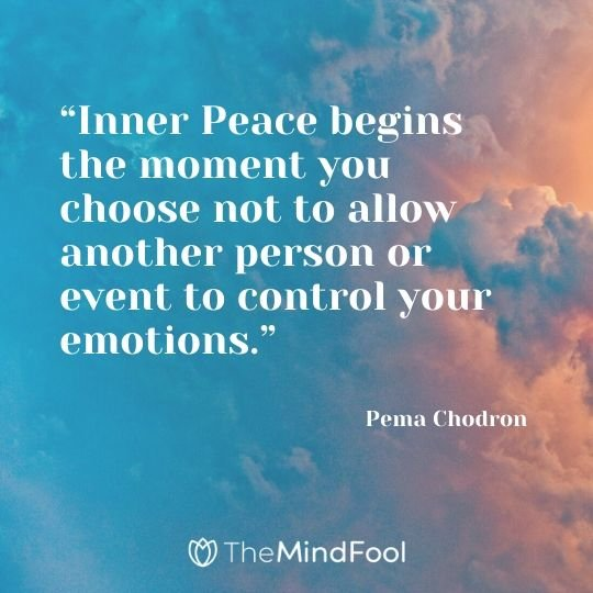"""Inner Peace begins the moment you choose not to allow another person or event to control your emotions."" - Pema Chodron"