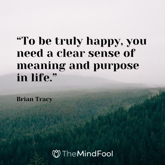 """To be truly happy, you need a clear sense of meaning and purpose in life."" -Brian Tracy"