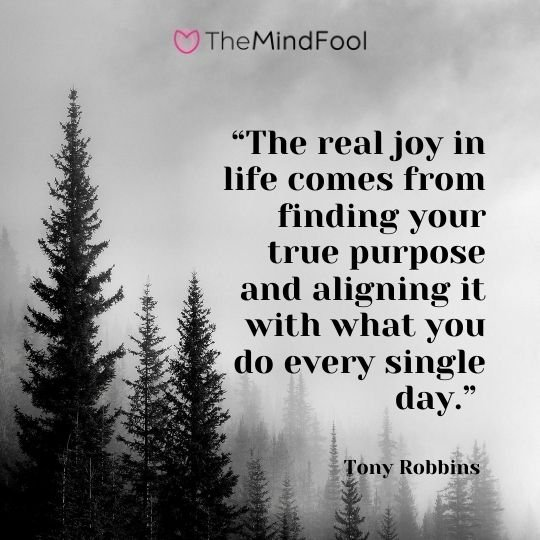 """The real joy in life comes from finding your true purpose and aligning it with what you do every single day."" - Tony Robbins"