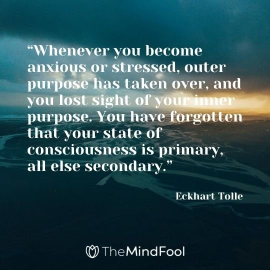 """Whenever you become anxious or stressed, outer purpose has taken over, and you lost sight of your inner purpose. You have forgotten that your state of consciousness is primary, all else secondary."" -Eckhart Tolle"