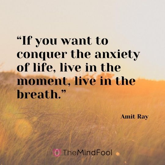 """If you want to conquer the anxiety of life, live in the moment, live in the breath."" – Amit Ray"