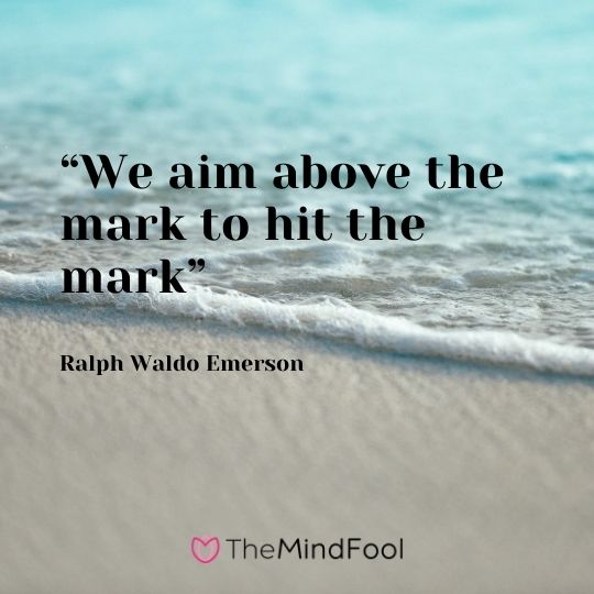 """We aim above the mark to hit the mark""---Ralph Waldo Emerson"