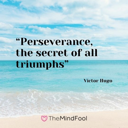 """Perseverance, the secret of all triumphs"" – Victor Hugo"