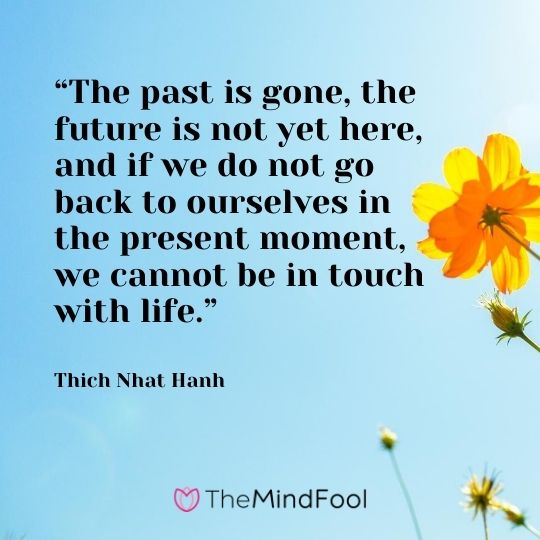 """The past is gone, the future is not yet here, and if we do not go back to ourselves in the present moment, we cannot be in touch with life."" – Thich Nhat Hanh"