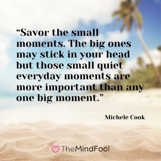 """Savor the small moments. The big ones may stick in your head but those small quiet everyday moments are more important than any one big moment."" – Michele Cook"