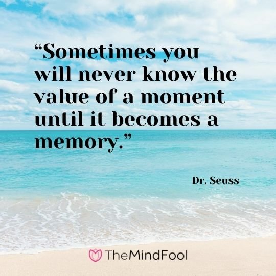 """Sometimes you will never know the value of a moment until it becomes a memory."" – Dr. Seuss"