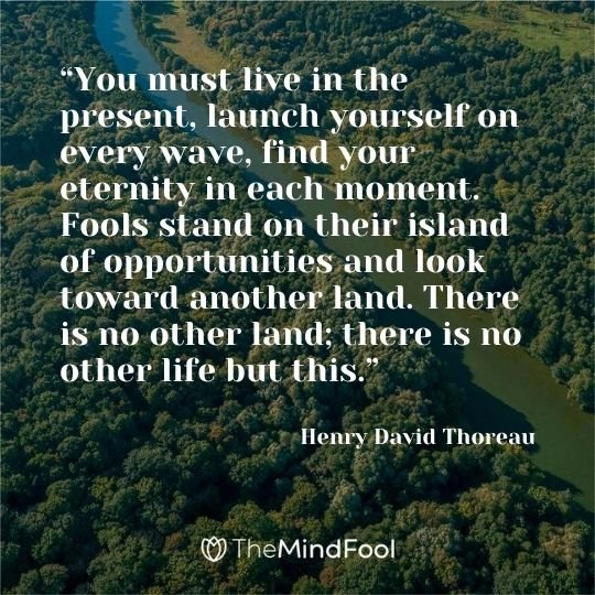 """You must live in the present, launch yourself on every wave, find your eternity in each moment. Fools stand on their island of opportunities and look toward another land. There is no other land; there is no other life but this."" – Henry David Thoreau"