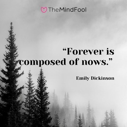 """Forever is composed of nows."" – Emily Dickinson"