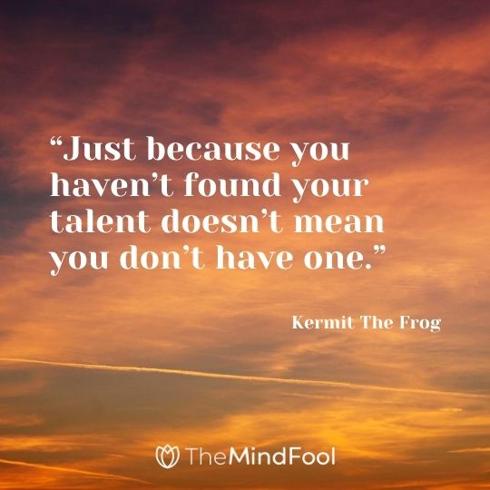 """Just because you haven't found your talent doesn't mean you don't have one."" – Kermit The Frog"
