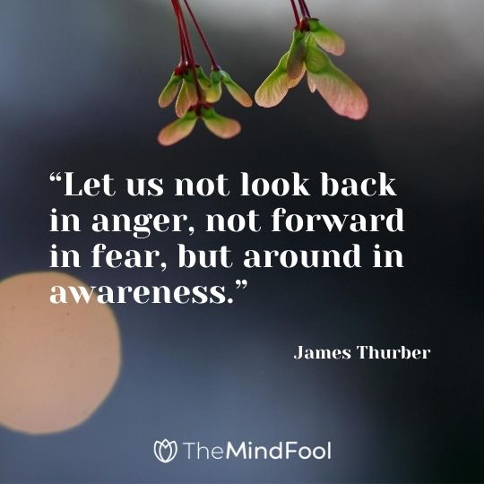 """Let us not look back in anger, not forward in fear, but around in awareness."" – James Thurber"
