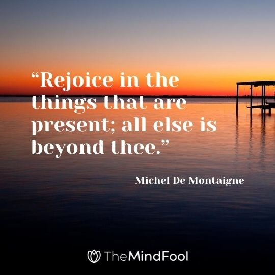 """Rejoice in the things that are present; all else is beyond thee."" – Michel De Montaigne"