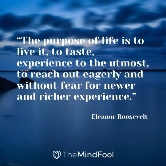 """The purpose of life is to live it, to taste, experience to the utmost, to reach out eagerly and without fear for newer and richer experience."" – Eleanor Roosevelt"