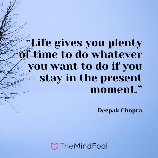 """Life gives you plenty of time to do whatever you want to do if you stay in the present moment.""– Deepak Chopra"