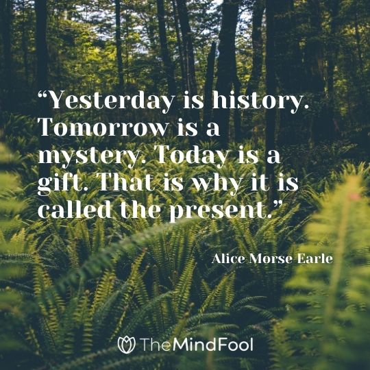 """Yesterday is history. Tomorrow is a mystery. Today is a gift. That is why it is called the present."" – Alice Morse Earle"