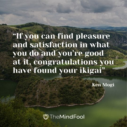 """""""If you can find pleasure and satisfaction in what you do and you're good at it, congratulations you have found your ikigai"""" ― Ken Mogi"""