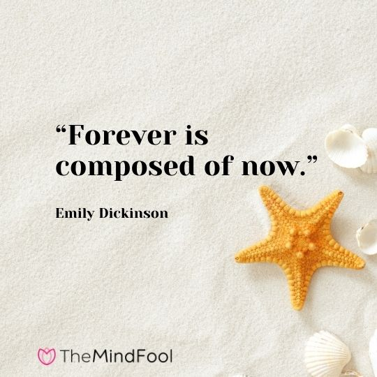 """Forever is composed of now."" – Emily Dickinson"