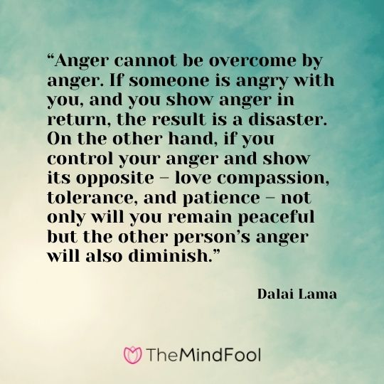 """""""Anger cannot be overcome by anger. If someone is angry with you, and you show anger in return, the result is a disaster. On the other hand, if you control your anger and show its opposite – love compassion, tolerance, and patience – not only will you remain peaceful but the other person's anger will also diminish."""" – Dalai Lama"""