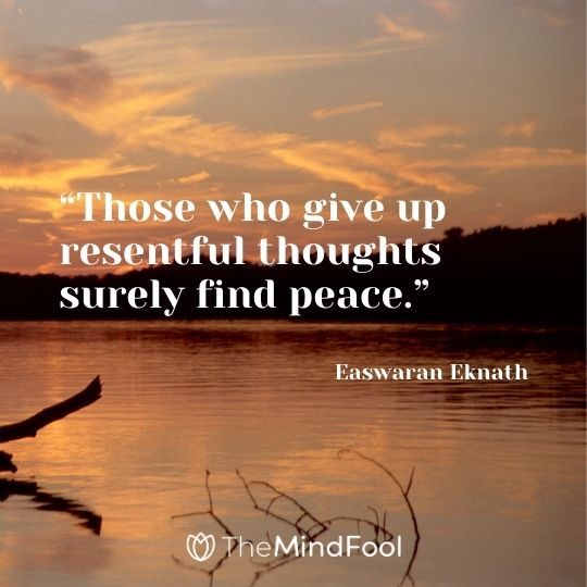 """""""Those who give up resentful thoughts surely find peace."""" – Easwaran Eknath"""