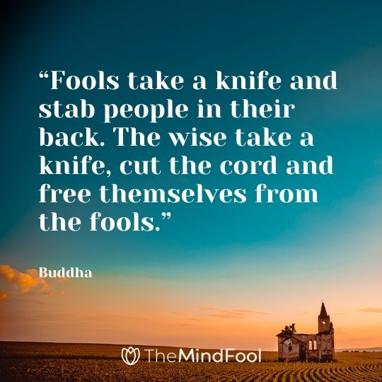 """""""Fools take a knife and stab people in their back. The wise take a knife, cut the cord and free themselves from the fools."""" – Buddha"""