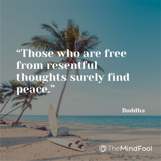 """""""Those who are free from resentful thoughts surely find peace."""" – Buddha"""