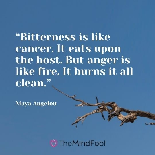 """""""Bitterness is like cancer. It eats upon the host. But anger is like fire. It burns it all clean."""" – Maya Angelou"""