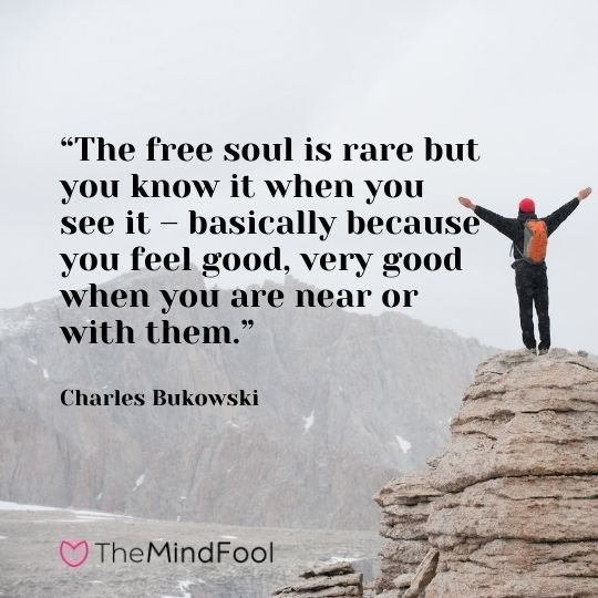 """""""The free soul is rare but you know it when you see it – basically because you feel good, very good when you are near or with them."""" -Charles Bukowski"""